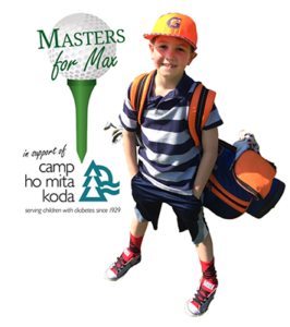 Masters For Max Logo - Golf Ball On Tee With Green Type Overlaying And Photo Of Max To Right